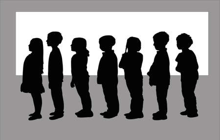 children in line, together