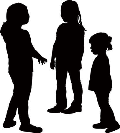 Children together, silhouette vector.