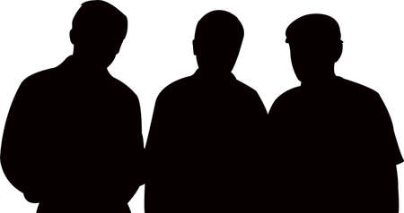 three man together, silhouette vector