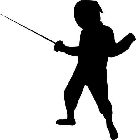 girl fencing, silhouette vector Ilustração