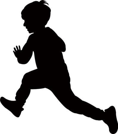 a running boy body silhouette vector Иллюстрация