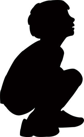 a boy body silhouette vector
