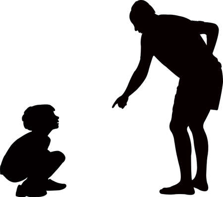 father talking to boy, silhouette vector