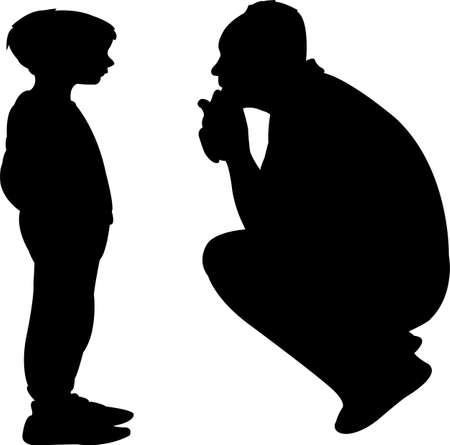 father talking to son, silhouette vector
