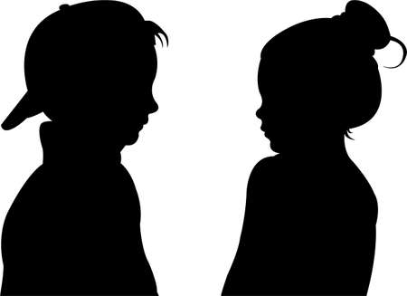 children talking, silhouette vector