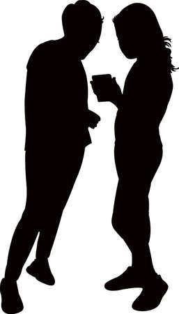 children talking, silhouette vector