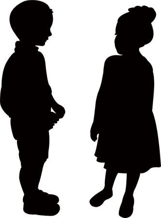 boy and girl making chat, silhouette vector