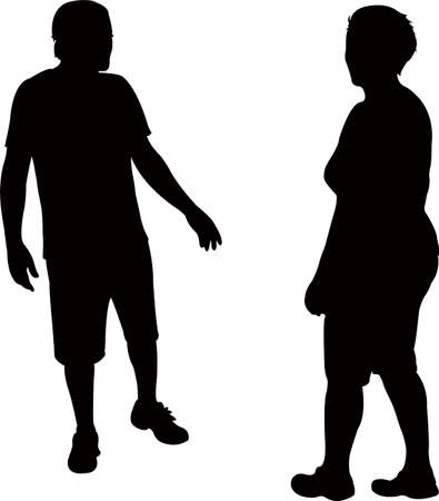 couple talking, silhouette vector