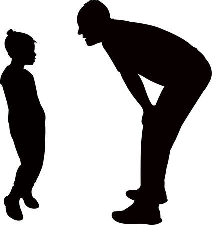 a man talking to his daughter, silhouette Vector illustration. Illustration