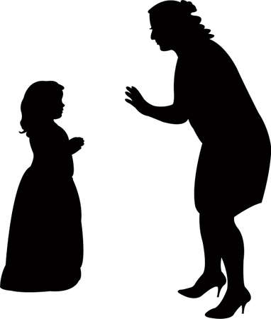 woman talking to daughter, silhouette vector Illustration