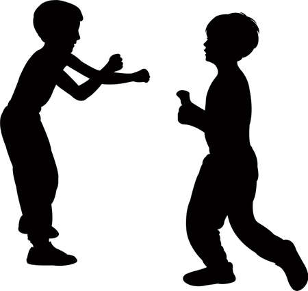 two boys fighting, silhouette vector