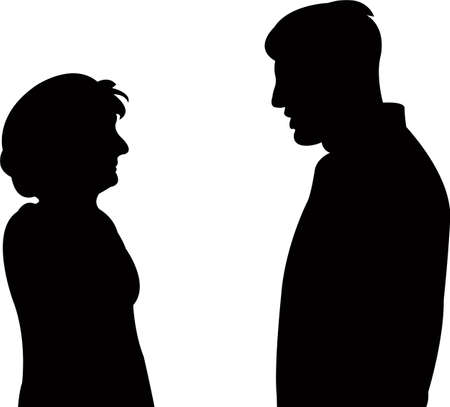 a couple talking, silhouette vector