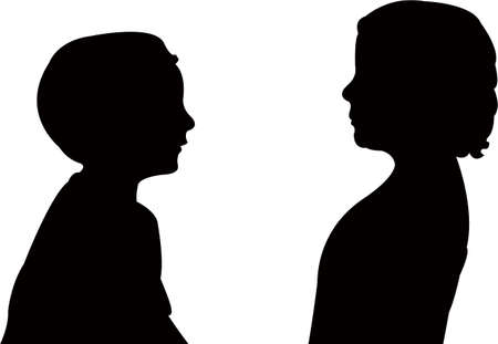 boy and girl talking, silhouette vector