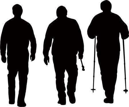 Three mountaineers walking, silhouette vector. Çizim