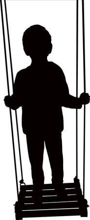 Kid swinging, silhouette vector illustration. Иллюстрация