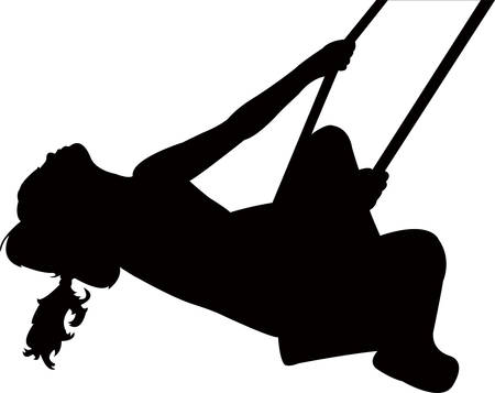 Kid swinging, silhouette vector illustration. 矢量图像
