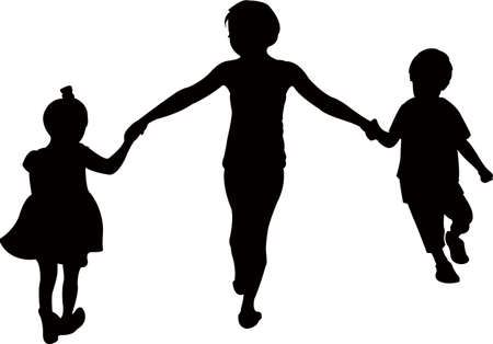 children playing together, silhouette vect?or
