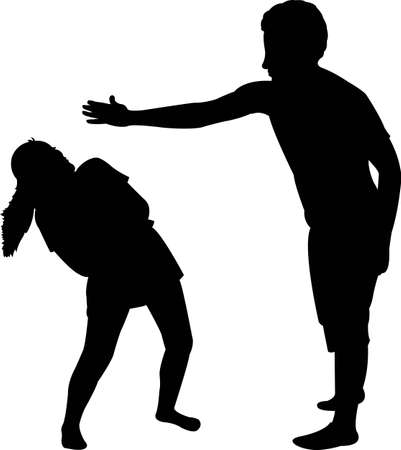 a man hitting the girl, silhouette vector
