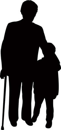 a grand father and grand son, silhouette vector