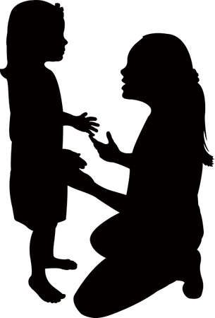 two children making chat, silhouette vector