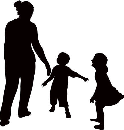mother and children playing, silhouette vector Illustration