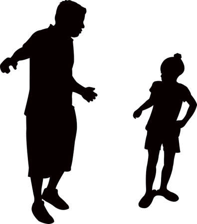 a father talking to his daughter, silhouette vector Illustration