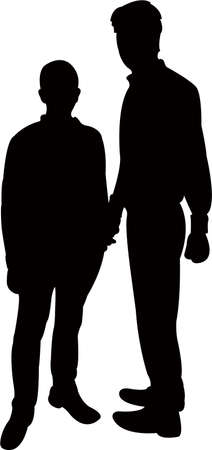 two man body silhouette vector