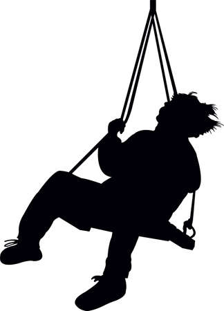 a boy swinging, silhouette vector