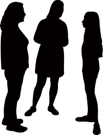three friends making chat, silhouette vector