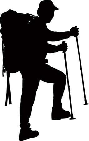 a mountaineer silhouette vector Vettoriali