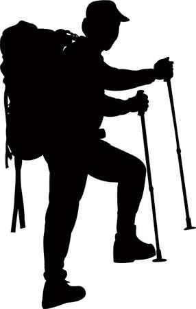 a mountaineer silhouette vector Ilustracja