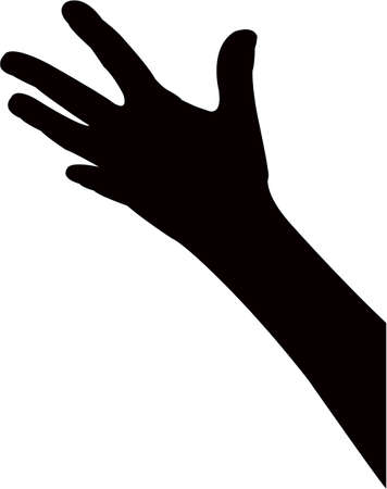 a hand black color silhouette vector  イラスト・ベクター素材