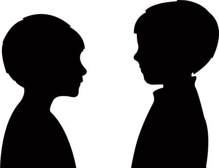 two boys talking, silhouette vector