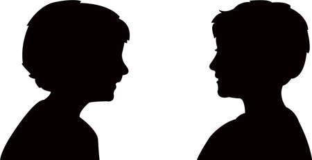 two boys talkig silhouette vector Vectores