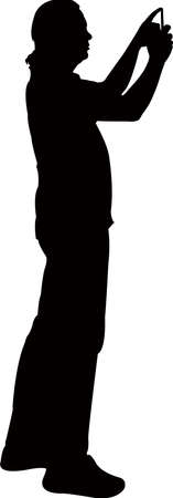 a man taking photo, silhouette vector