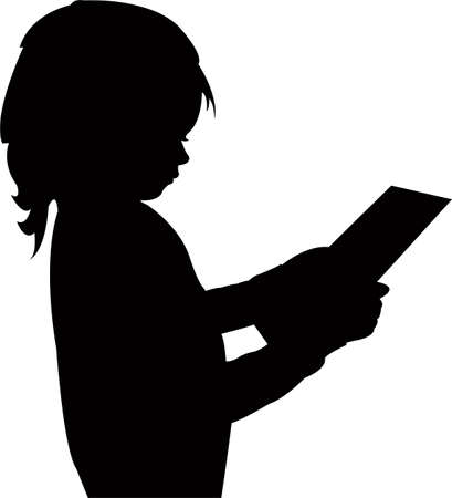 a girl reading, silhouette vector  イラスト・ベクター素材