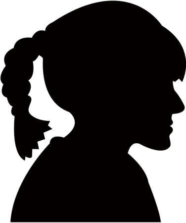 a girl head silhouette vector  イラスト・ベクター素材