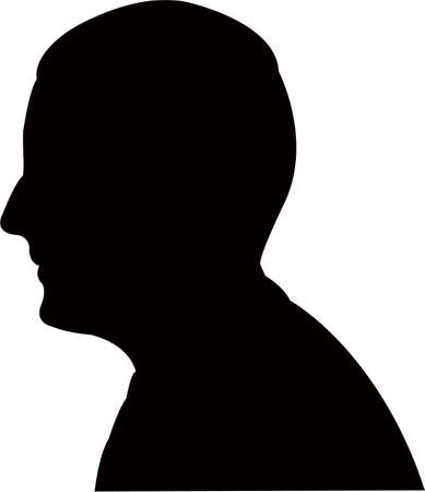 a young man head silhouette vector  イラスト・ベクター素材