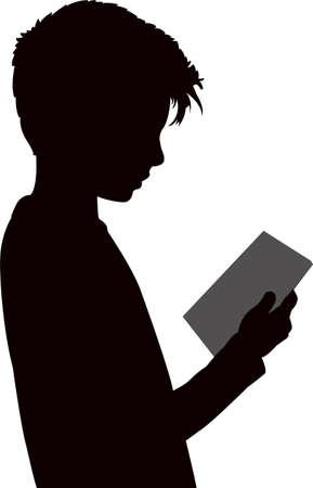 a boy reading, silhouette vector