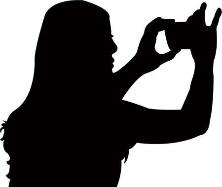 a woman taking selfie, silhouette vector  イラスト・ベクター素材