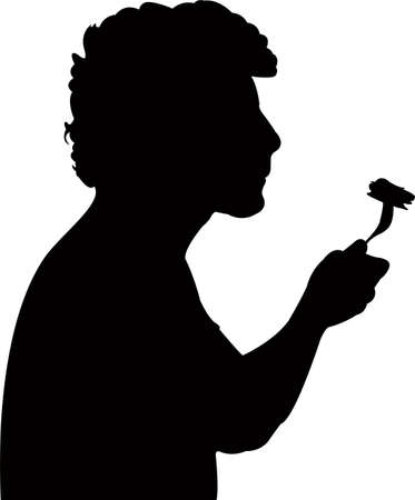 a man eating, silhouette vector