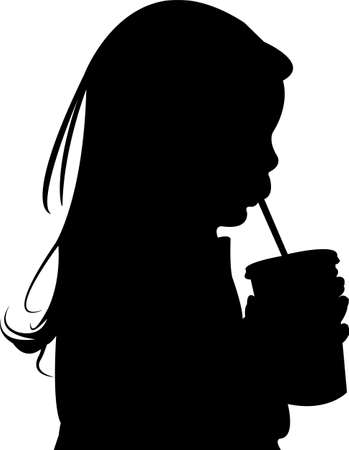 a girl drinking, head silhouette vector