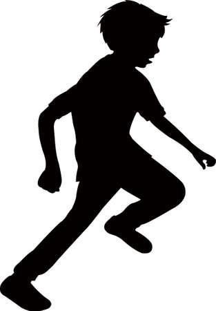 a boy running silhouette vector