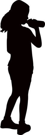 a thirsty girl drinking water, silhouette vector