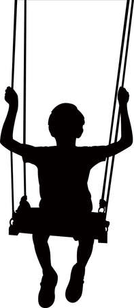 a boy on swing silhouette vector Ilustrace