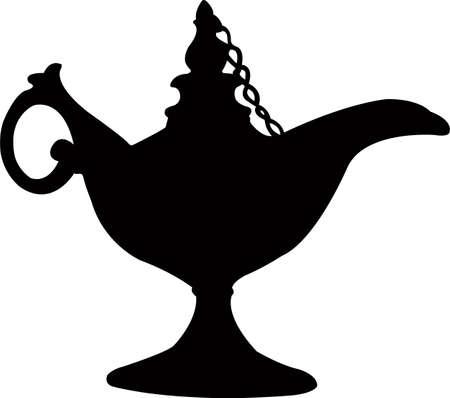 Lampe Aladdin, Silhouette Vektor Vektorgrafik