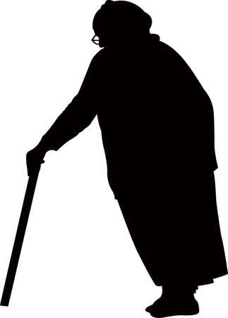 an old woman silhouette Çizim