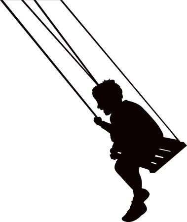 a boy swinging body silhouette vector