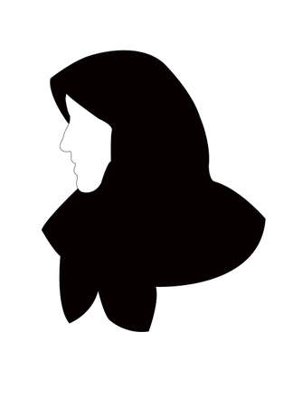 a woman head with headscarf, silhouette vector