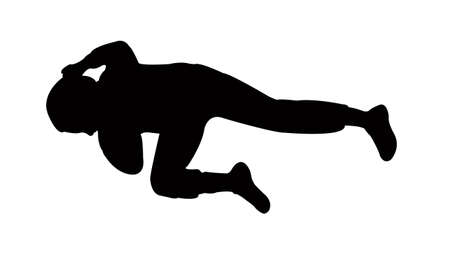 child lying down body silhouete vector